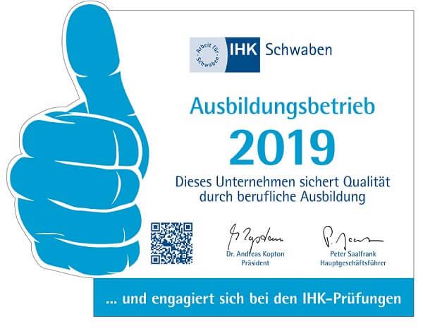 IHK Schwaben Ausbildungsbetrieb 2019
